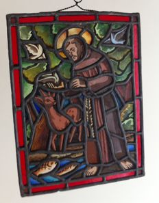 Saint-Gilles de Eremiet scene in stained glass - France - early 19th century