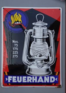 Enamel Sign FEUERHAND (Kerosene Lamp) - Germany - 1930ies