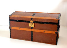 Large solid ship case - reupholstered with leather - early 20th century