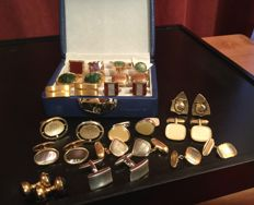 Vintage gold tone men cuff links - 15 paired