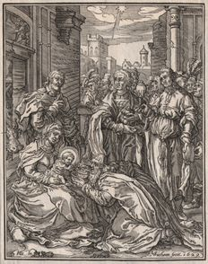 Hendrik Goltzius ( 1558 - 1617)  - The Adoration of the Magi - engraved in wood by his pupil Christoffel van Sichem (1580-1658) - 1629