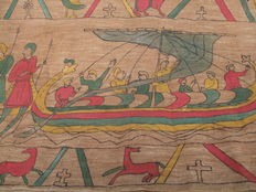 Hand painted burlap lane.  Replica of the Bayeux Tapestry