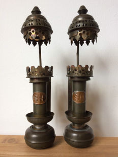 Vintage train lamps copper (S.H.)