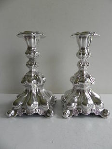 Two silver candlesticks in Rococo style, import in Sweden