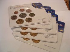 Germany – year pack Euro coins 2004, A, D, F, G, J (5 pieces), complete.
