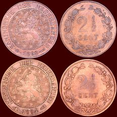 The Netherlands – 2½ cents 1894 and 1898, Wilhelmina