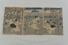 Woodcut, triptych by Utagawa Kunisada (1786-1865) – Japan – 1850s