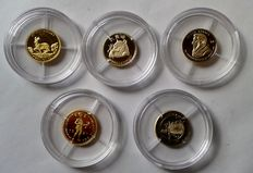 "World - 5 x ""Smallet gold coins and medals"""
