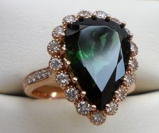 Beautiful Green Tourmaline Diamonds Ring in 14K Solid Rose Gold, total 5.84 ct