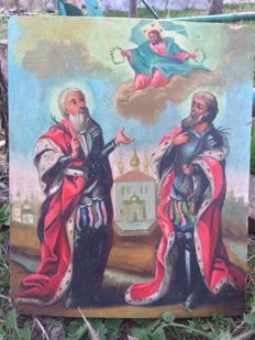 19 th century ortodox russian icon of Miracle phenomenon hand painted
