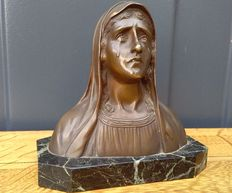 Antique bronze bust - Mater Dolorosa - bronze on marble - ca 1920