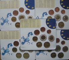 Germany – year packs Euro coins 2002, A, D, F, G, J (5 pieces).