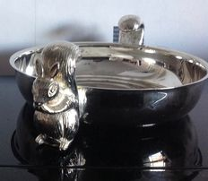 SQUIRREL BOWL, silver plated metal - Elegance in silver - In its original box - 1980s