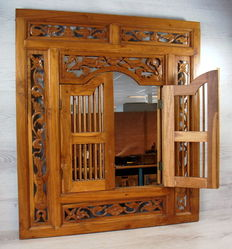 Mirror in hand carved wooden frame with banister doors, 2nd half of the 20th century, Germany