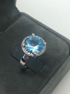 """POIRAY - """"Fille Cabochon"""" ring with topaz and diamonds - Size 53 FR"""