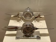 Set of 2 different Flight Design Clocks - Propeller Style - airplane aluminum handbuffed & polished