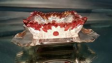 Beautiful red glass Butter Holder by HARRISON FISHER 1897