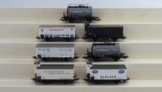 Piko H0 - 58042/95569/58085/95531/95586/95427 - 7 piece carriage set with closed freight carriages and tank carriages of the NS, Era III