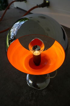 Unknown designer - lamp in chrome with orange accent.