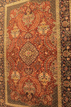 Beautiful handwoven Paki Ghom Oriental carpet 140 x230cm wool, made in Pakistan