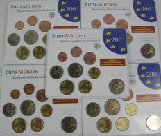 Germany – Year packs Euro coins 2007A, D, F, G, J, including 5 x 2 Euros Schwerin