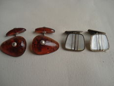 Two sets of vintage cufflinks, silver and amber