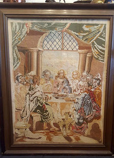Large Italian 'Last Supper' Tapestry  embroidery Panel