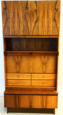 Designer unknown - luxurious vintage rosewood bar, wall unit