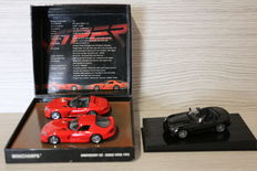 MInichamps - Scale 1/43 - Lot with 3 models: set Dodge Viper GTS 1993 - Red & Dodge Viper SRT-10 2003 - Black