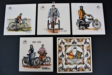Gazelle - five tiles. Special edition with antique bicycles - from the 80s