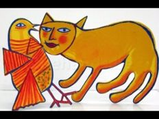 Corneille - Yellow cat with bird