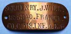 Named WW1 US Army Expeditionary Force in France ID Copper Bracelet