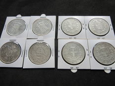 World – 8 silver coins from: France: 5 francs 1850 & 1870, Italy: 5 lire 1872-73-74-75, The Netherlands: 2½ guilder 1930 & 1932