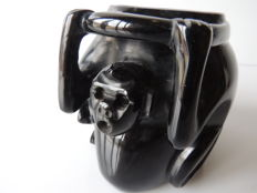 Pregnant monkey - Vase in monkey shape, polished black Obsidian : Aztec art - identical reproduction.
