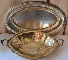 Two large silver platters, France, 1960 and 1920