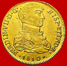 Spain - Fernando VII (1808 -1833) doubloon coin of 8 gold escudos -1810 - Lima. Very scarce.