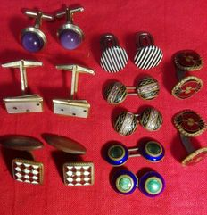 Lot of 7 pairs of vintage cufflinks