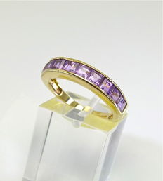 """Vintage gold princess cut 2ct """"Natural Brazilian Amethyst"""" channel band designed by GTV - NO RESERVE"""