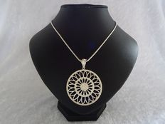 Large, silver, flower mandala pendant with silver, snake link  necklace - diameter 46 mm - length 60 cm.