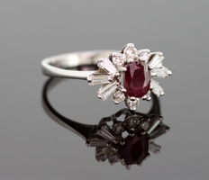 18K White Gold Ladies Ring With Ruby ( 0.50 CT ) and Diamonds ( 0.30 CT Total ) c.1970