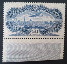 France 1936- Air mail, 50 franc, aquamarine, Burelé - Yvert number 15.