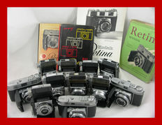 Beautiful lot of 8 x classic Kodak Retina and 3 x Retinette cameras with various books and leaflets