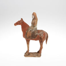 A Large Figure in terracotta horse with rider - c.33cm High