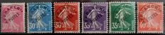 France 1922/1947, Series of pre-cancelled Semeuse, plain background stamps. Yvert numbers 59-64.