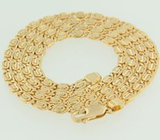 18 kt yellow gold flat Byzantine link necklace
