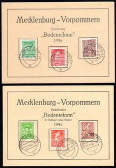 "Soviet Zone 1945 - Mecklenburg Vorpommern ""Bodenreform"" 8 Pfg. – 12 Pfg. Both colours on first issue cards - Michel 23 - 25a/b"