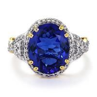 Flawless Top AAAA Quality Tanzanite 18K Gold Ring With Diamonds