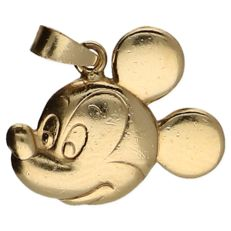 14 kt yellow gold pendant in the shape of Mickey Mouse's head – Length: 1.7 cm