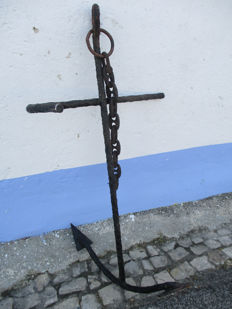 Very Large Antique 1930/40 Anchor with Marine Ship´s Anchor Chain