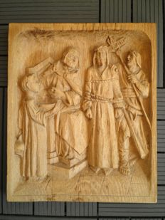 Carved oak wood panel of the cloister of sculptor Kurt Preuss, signed - Germany - 1st half of 20th century
